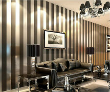 Black Contemporary And Contracted Fashionable Stripe Non-Woven Wallpaper