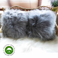 SALE! Lux Both Side ICELANDIC LAMBSKIN Sheepskin Cushion Pillow, Grey, Rug Add