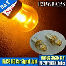 1x 1156 BA15S P21W Canbus Car LED Light Rear Reverse Bulb 3535 8SMD Yellow/Amber