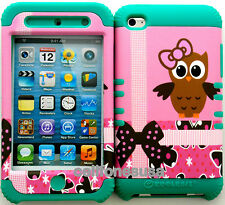 Rocker Hybrid Silicone Rubber Cover Case Skin IPOD TOUCH 4  Owl 6 onTeal