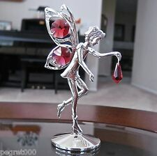 Fairy Figurine made with Swarovski Ruby Octagon / Drop Prisms Silver Plated