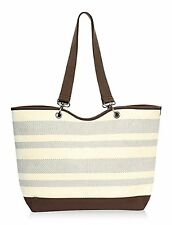 Thirty One 31 - Canvas Crew Tote - Taupe Straw Stripe - Large beach bag