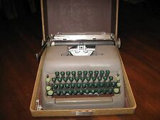 Vintage Smith Corona Sterling Typewriter with Tweed Case, Green Keys