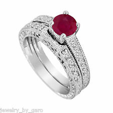 14K WHITE GOLD RUBY AND DIAMOND ENGAGEMENT RING WEDDING BAND SETS VINTAGE STYLE
