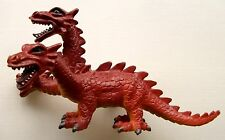 TOY 3-HEADED RED DRAGON PVC PLASTIC FIGURE MEDIEVAL KNIGHTS & FANTASY MONSTER