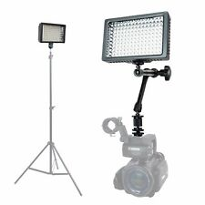 "Dimmable 160 LED Panel Camera Camcorder Video Light+11"" Magic Arm/3 Filters/Case"