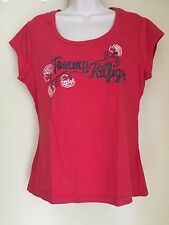 Tommy Hilfiger Red scoop neck Cap Sleeve knit top glitter lettering XL - EUC