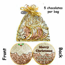 * 1x bag of 5 Personalised XMAS PUDDING (Glitter Effect) Belgian CHOCOLATE COINS