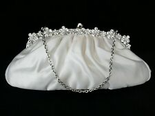 "NEW - IVORY SATIN HAND/CLUTCH BAG, DIAMANTE TRIM, DETACHABLE 14"" CHAIN"