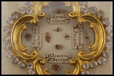 † 19TH FRENCH MULTI RELIQUARY ST JOHN + CLARE BLACK WOOD FRAMED 8 THECA RELICS †