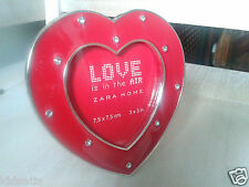"A Gorgeous Stylish Red Jewelled Heart Photo Frame by Zara Home 3""x 3"" BNWT"