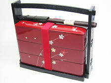 NEW JAPANESE BENTO LUNCH BOX Hanami Bento 3tier Sakura Flower Red Made in Japan