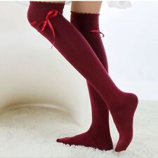 Girls Warm Cotton High Socks Thigh High Stockings Over the Knee Seam Hosiery Red