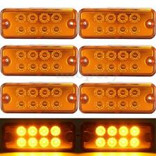 6x Amber 12V 8 LED Side Marker Light Lamp Truck Trailer Lorry Caravan Waterproof