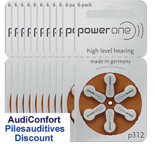 60 hearing aid batteries Power One P312 Varta / hearing aid battery PR41