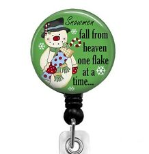 Badge Reel Cute Snowman Retractable ID Badge Holder for Christmas Holiday