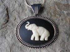 ELEPHANT CAMEO NECKLACE - CREAM ON BLACK - QUALITY - AFRICA