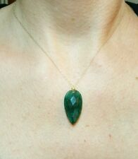 15t Huge faceted pear Zambian 27mmx15mm Emerald pendant solid 14k gold necklace
