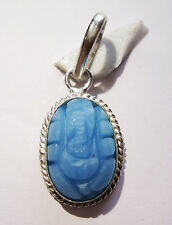 Hand Crafted Synthetic Turquoise / Firoza Ganesh Pendant In Panchdhatu Metal