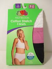 NIP FRUIT OF THE LOOM L 7 (12-14) White Cotton Stretch BRIEFS Underwear Panties