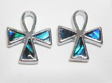 Blue Faux Abalone Shell Silver Tone Cross Stud Earrings 15 x 12mm on posts
