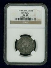 GREAT BRITAIN/ENGLAND GEORGE II 1758 SHILLING SILVER COIN, NGC CERTIFIED AU-55