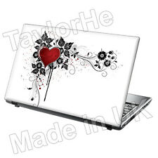 Laptop Skin Cover Notebook Sticker White and Red Heart