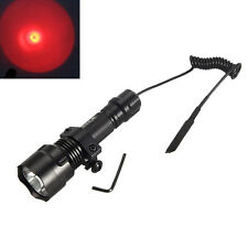 4000Lm RED LED Hunting Tactical Flashlight Torch Pressure Switch Mount Light Gun