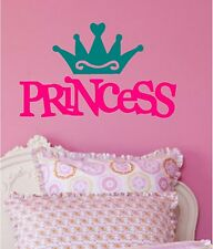 Princess & Crown Wall Sticker Wall Art Decor Vinyl Decal 12x20 Choose 2 Colors