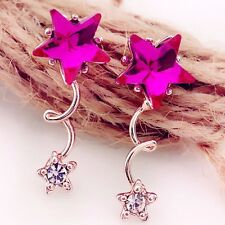 Free shipping Womens 9K Rose Gold Filled AAA CZ Double-Star Earrings Stud Y-Q585