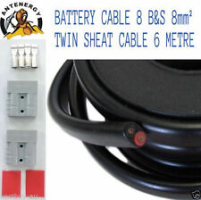 6 METRE 6M BATTERY CABLE 8 B&S 8mm² 8mm2 TWIN SHEATH CABLE 2X ANDERSON PLUGS