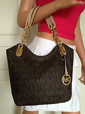 NWT MICHAEL KORS MEDIUM LILLY BROWN MK SIGNATURE PVC LEATHER TOTE SHOULDER BAG