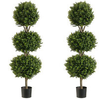 "TWO 56"" Boxwood 3 Ball Topiary Artificial Tree W Pot In Outdoor Plant Patio Fake"