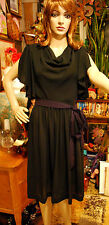 Leslie Fay BATWING SPLIT SLEEVE BLACK GEORGETTE CREPE DRESS Draped Front Sz 8