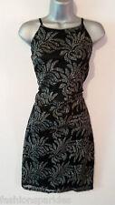 BNWT New LIPSY Black Silver Glitter Leaf High Neck Stretch Bodycon Midi Dress 16