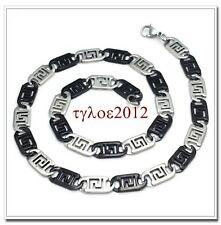 """New Desgin Mens Stainless Steel Black Silver Two Tone 8mm Necklace Chain 21.6"""""""