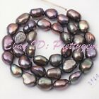 8-9MM NATURAL FREEFORM BLACK FRESHWATER PEARL CULTURED SPACER BEADS STRAND 15""