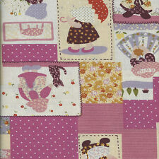 Fat Quarter Sunbonnet Sue Linen Look Cotton Quilting Fabric-50 x 55cm-Pink