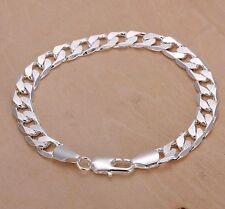 "Men's/Ladies 925 Sterling Silver L/F - 8mm X 8"" Flat Link Bracelet"