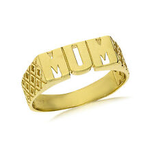9CT GOLD SOLID MUM MUMMY MOTHER BASKET LINK SIDE RING BAND GIFT BOX