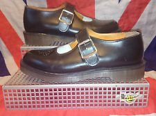 England Vintage*Punched Toe Dr Doc Martens Mary Janes*Black*Goth*Grunge*Quirky*8