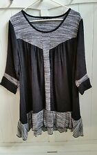 Firmiana womens black tunic top sz M mixed media lagenlook
