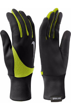 Nike Element Thermal THERMA 2.0 Running Gloves BLACK W/ VOLT YELLOW FLEECE sz S