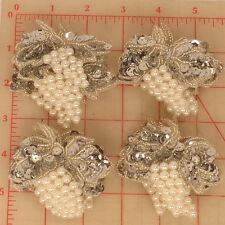 20 vintage grape appliques silver sequins leaves pearl cluster grapes 2.5""