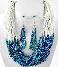 Resort Cool Waters Layered Strands Seed Bead Aqua Royal Sky Blue Necklace Set