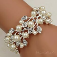Silver Plated Pearl Clear Crystal Bridal Wedding Bangle Cuff Stretch Bracelet 96