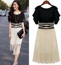 Women Cream Black Chiffon Dress