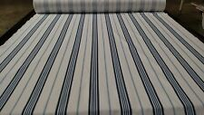 "VINTAGE STRIPED BLUE LINEN COTTON BLEND FABRIC 58""W HERRINGBONE UPHOLSTERY BTY"