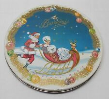 Round Tin Santa Woman Sleigh Ornaments 1953 Barricini Christmas Magic Vintage