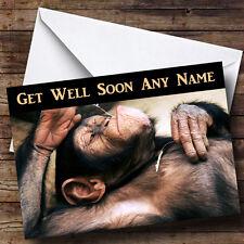 Relaxing Monkey Personalised Get Well Soon Greetings Card